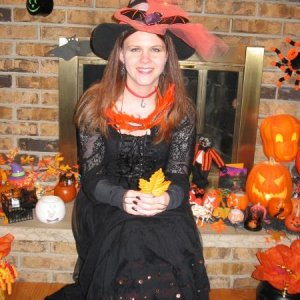 me as a witch with our many decorations