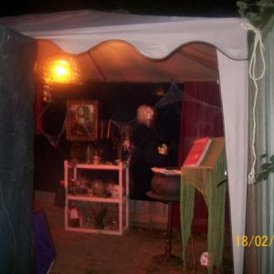 Looking toward  the witch room. (10x12 canopy at back of yard!)