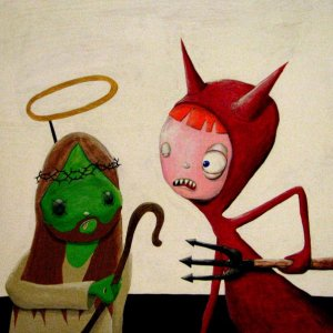 The Devil meets Zombie Jesus by Ulcerative Acrylic on wood panel