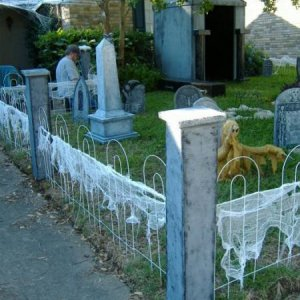 Basic graveyard set up with the cheesecloth on the fence. We tried webbing, but it wouldn't hold or stretch well on the fence sections. The cheeseclot