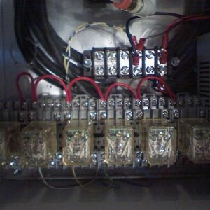 relays wired to use 120vac to switch 24vdc going to the solenoids.