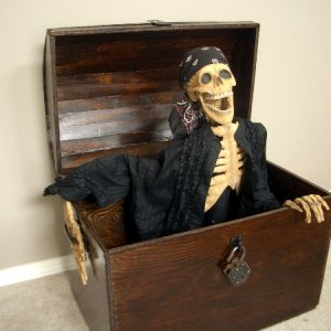 Skelly in homemade treasure chest
