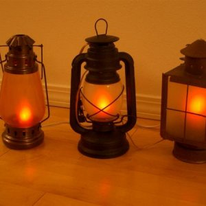 New and secondhand lanterns frosted and equipped with flicker bulb sockets