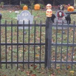 "hand made ""wood"" iron fence and grave yard"