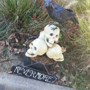 Nevermore prop - new sign added to last year's prop. Stolen - 10/28/14