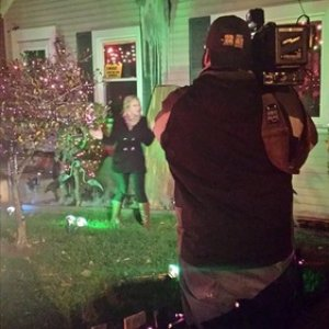 News crew at our house.