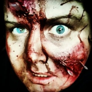 "More glass shard makeup I did on myself. ""Trapped"" 2014"