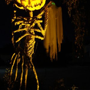 Pumpkin Sentinel and our resident Ghost watch over the Evil Vines Cemetery.