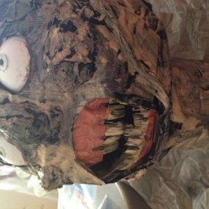 Paper mache zombie head, before it had hair and a body