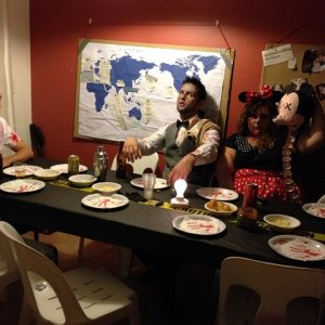 Some of my sisters friends. Zombie Minnie Mouse (with poor Mickey's head!), zombie bartender and Shaun of the dead.