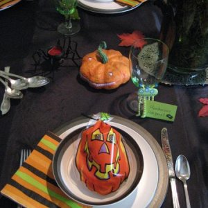 A table setting for one of the guests at our Witches party