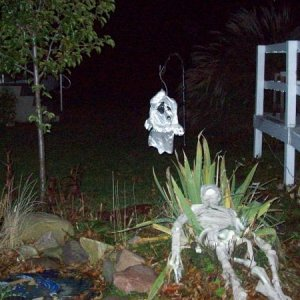 The ghost was a Wal-Mart windsock.  It was placed over a stained glass bird feeder that had been retro-fitted to become a lantern.  It may need to hav