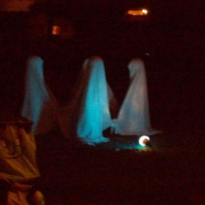 Night shot of the Dancing Ghosts w/o flash.  Next year, I may see if I can switch to a blacklight...