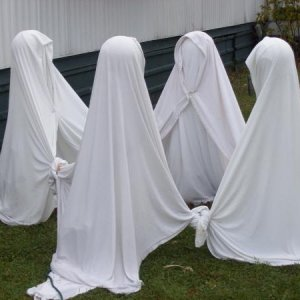 A close up of the ghosts.  This year I added an extra post to act as a spine, as sometimes when the 'bath-blankets get wet, they also get really heavy