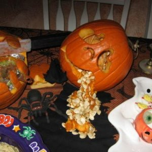 gutted pumpkin centerpiece