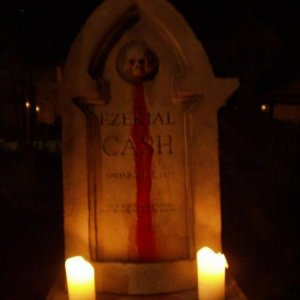 "Member ""Fear Inc."" designed and built this beautiful bleeding tombstone.  A creepy twist on the oldest of props."