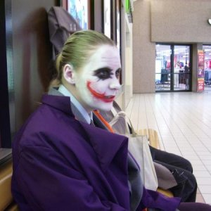 joker at mall, bored