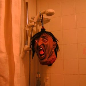 Severed head guy in the shower