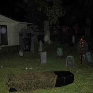 Graveyard, but look closer do you see the odd balls of light hovering over the graveyard, maybe their spirit orbs.