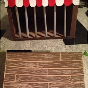 Cage - cardboard box, PVC pipes, paint