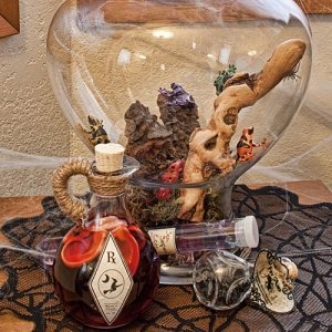 Potion jars and items ~ Poison Arrow frogs, Sea Serpent Eggs, Fire ants and Hearing potion