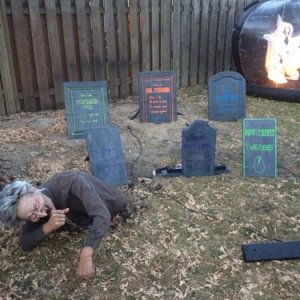 grave crawler and headstones