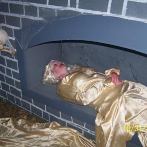 My sister-in-law in the crypt.....this was her position all night Friday night...yup, she got a little cold