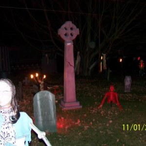 Another zombie (female variety) and part of my cemetery.  The rooms and hall rap around the cemetery.