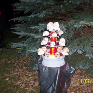 My blood fountain.  I made the skulls for it last year (smooth on product) and we placed in the cemetery this year.