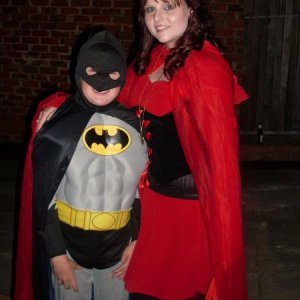 Little brother as Batman, and I