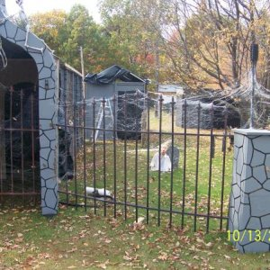 A section of the fence from this year.  The archway was last years piece heading into the spiders lair.  This is all during set up.  Then you went int