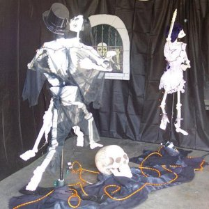 Dancing with bones - using bluckies, pvc and revolving tree stands.