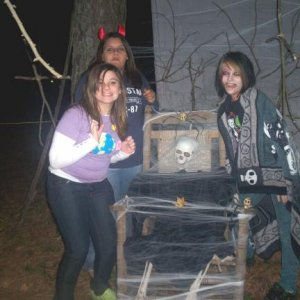 Party of our Blair Witch section...had a strobe light on it. My daughter to the left.