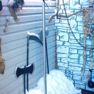 halloween 08.  just a little  corner of  the haunt going out of  the torture chamber, showing SNOW inside!
