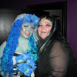 Me and my mum (dressed as Lily Munster)