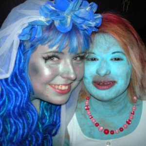 Me and my friend Nargis, who dressed as Smurfette (and was voted Best Costume)