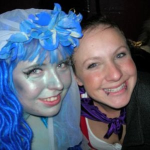 "Me and my friend Hazel, who dressed as Mona The Vampire (who I awarded ""Most Original Costume)"