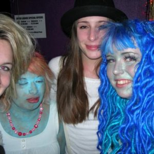 Me with my friends Jess, Nargis and Chimp orrr.. Cruella DeVille, Smurfette and Alex from A Clockwork Orange