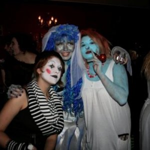 Me with my friends Lizzie the Mime and Smurfette Now, Lizzie did contavene the theme rules as she's not really a character from a film, but I awarded