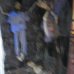 Sorry or the out of focus shot of a spinning Dead Fred and the talking prisoner hanging by chains from the wall.  Those are Alcatraz pajamas bought in