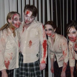 Halloween 08. We were a pack of zombie school girls, but everyone thought Gabe was a Scotsman.