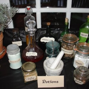 I used odd bottles and containers to make potions.
