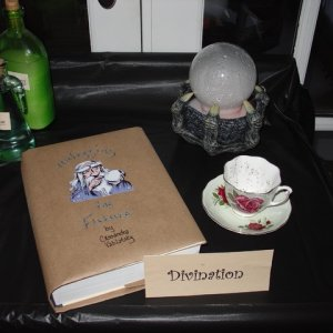 I had a mister crystal ball, and added a book cover made from a grocery bag and a tea cup for the Divination class.