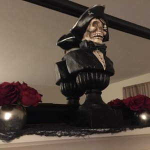 Mostly pirate themed this year - started on the mantel tonight.
