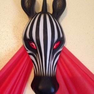 Detail of zebra above concessions area (has red LED and foil behind eye area)