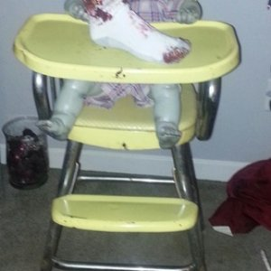 Lil' Petey in his vintage high chair