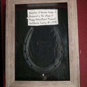 Horseshoe from somewhere (we lived on a farm, we have odd stuff).  Painted up with a little glow paint.  Shadow box frame from Michaels (50% off) for