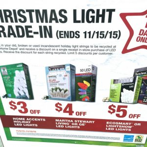 HDTradeIn2015. Once again great way to get something for your old incandescent light strands and buy LED lighting with the trade in value.