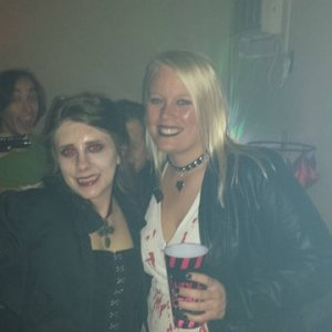 Me and The Bride of Chucky!  Rick Grimes pointing a gun at my head! lol