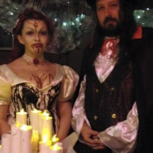 Myself and my partner in our costumes.